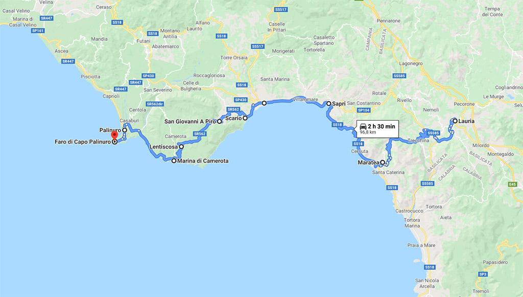 Itinerario da lauria a Capo Palinuro